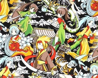 213922 black beautiful character anime fabric Manga fabric by Trans-Pacific Textiles