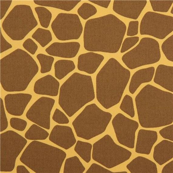 211774 Tangerine Yellow Fabric Brown Animal Print Cotton