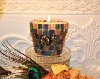 Embellished Soy Wax Flower Pot Candle,YOUR SCENT CHOICE,Homemade,Hand Poured,Mini Flower Pot,Small Vitreous Glass Tiles,Purple,Green,Copper