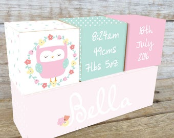 Personalized Wooden Name Birth Blocks Custom Made Owl Floral Wreath Pink