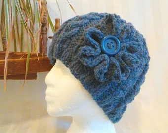 Knit Cable Beanie.  Beanies for Men or Women. Knit Hat. Medium Blue Heather. Dark Denim. Optional Crocheted Flower. Mens or Womens Beanie