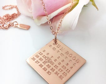 Calendar Necklace - Rose Gold Filled Mark Your Calendar Necklace hand stamped