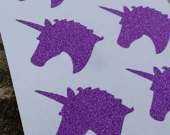 Purple Glitter Unicorn Stickers -Big Sheet!
