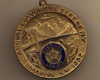Watch Fob Brooklyn American Legion Medal 1932 NY Convention Bridge Attleboro antique military