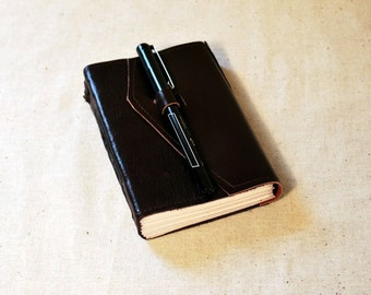 Deep Plum Leather Travel Journal with Recycled Paper-Small