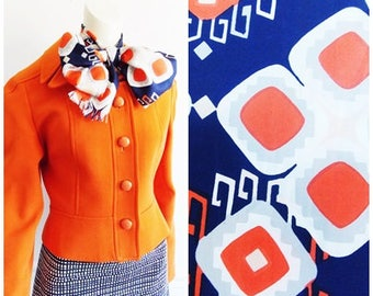 1960s Mid Century multi color Scarf/ 60s mod abstract scarf/ swinging sixties scarf