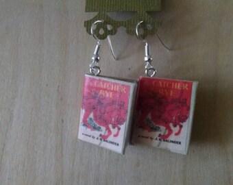Mini Catcher in the Rye Earrings - Book Jewelry- Handmade Book Earrings - Mini Book Jewelry -  Mini Book Earrings