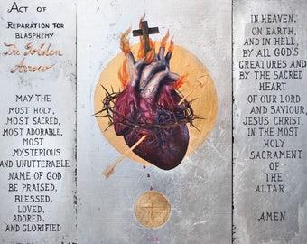 "The Sacred Heart of Jesus: The Golden Arrow - 8.5"" x 11"" metallic print"