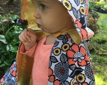 Unisex Toddler Hooded Cape: in Orange Poppies