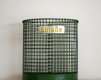 Vintage Industrial European Trash Can with Abfalle Sign From Germany 1970S Retro Funky