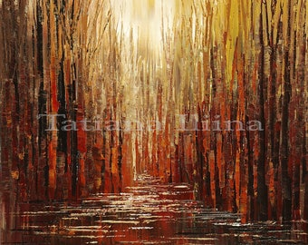 Hand textured giclee print on CANVAS of original forest painting HOME & HOPE by Tatiana Iliina stretched #10/50