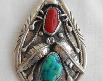 Silver with Turquoise/Coral Pendant, Impressed DJN, Delvin Nelson
