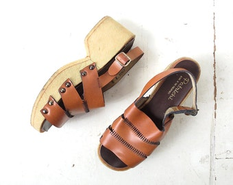 70s Platform Shoes | Leather Sandals | Wedge Sandals | Size 8