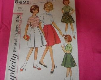 Simplicity 5431 Girl's Skirt Pattern Size 6 Wrap Around Skirt