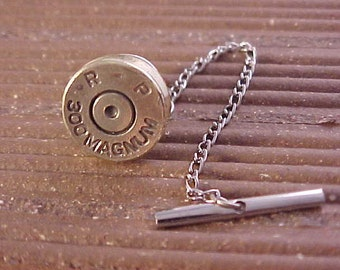 Bullet Tie Tack Remington 300 Magnum Brass Rifle Shell Recycled Repurposed