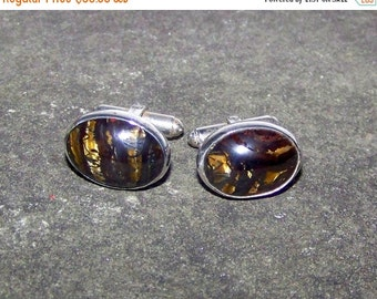 NEW YEAR SALE Classy Vintage Sterling  Cufflinks Set With  Tiger Iron  Cabochons A Supreme Healing Stone