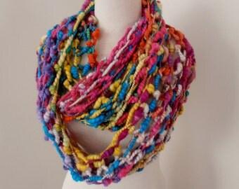 sale Rainbow Infinity Loop Scarf  bulky textured art yarn Hand Spun Hand Knit Scarf fine Australian merino silk mix