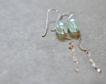 prehnite earrings. cubes with rose gold chain. prehnite dangle earrings. pale green earrings with rose gold chain. prehnite jewelry