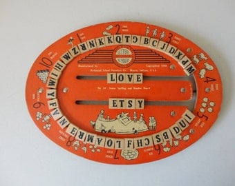VINTAGE 1940 richmond SPELLING and number BOARD