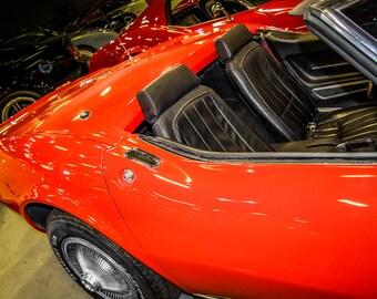 1968 Chevrolet Corvette Stingray Convertible Car Photography, Automotive, Auto Dealer, Sports Car, Mechanic, Boys Room, Dealership Art