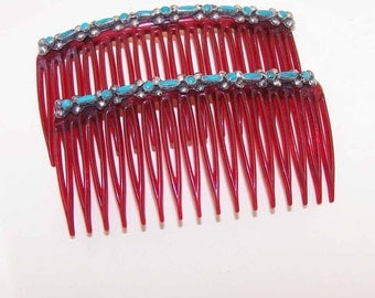 Vintage Hair Combs,NATIVE AMERICAN,Hair Combs,Sterling Silver,Turquoise,Sterling Mount,Indian Hair Combs,Southwestern Hair Combs,Pair
