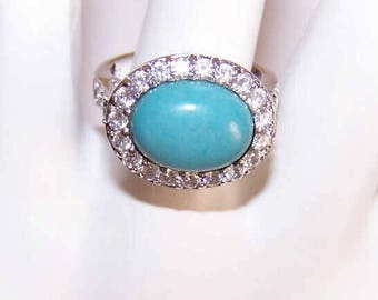 Vintage STERLING SILVER, Faux Turquoise & Cubic Zirconia Fashion Ring by ESPO