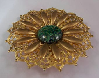 18mm, Round, Green Glass Opal, Set in a 60mm Gold Plated Filigree, Made as a Brooch