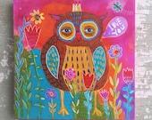 Folk Art Owl Painting Valentine Gift