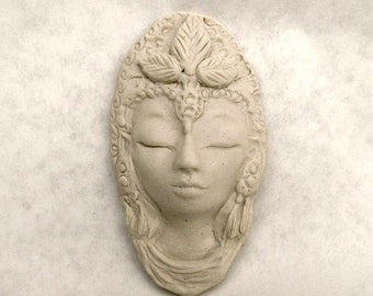 Quan Yin Face Matte Porcelain Ceramic White Tara Wall Hanging Art Object Sculpture Handmade Pottery Female Buddha