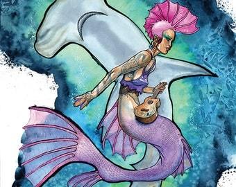 Mermaid Art Print, Mermaid Decor, Punk Mermaid, Fantasy Art, Fantasy Creature, Hammerhead Shark - Swim Fast, Sink Young 11x14 Art Print