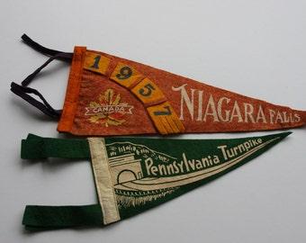 Vintage Niagara Falls Pennant- Felt Pennsylvania Turnpike Souvenir Flag- 1950's Small Banner- Collectible