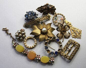Vintage JUNK JEWELRY Lot- Rhinestone Pearls- Flower Brooch- Buckle- Earrings Embellishments- Jewelry Lot- B