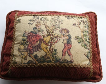 Vintage TAPESTRY PILLOW- Feather Pillow Man Leading Donkey- Woven Burgundy Fabric- Soft Comfortable Pillow- French Country Style