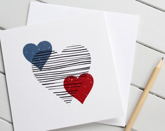 Simple Scandi Love Heart Anniversary Wedding Blank Card Monochrome Blue Red