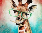 Giraffe print, Giraffe with glasses, Office wall art, funny giraffe art, animal art, giraffe art, funny giraffe