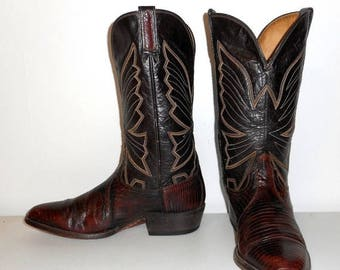 Mens 8 E Cowboy Boots Lizard Vintage Wide Width Western Country Rockabilly West
