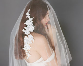 Lace Wedding Veil, Ivory Bridal Veil, Double Layer Veil, Tulle Drop Veil, Lace Applique Veil, Cathedral Veil, Long Veil, Rhinestones 1721