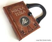 Nikola Tesla Book Purse - Tesla Book Clutch - Inventor Collector Gift - Tesla Book Cover Handbag - Electrical Engineer Gift