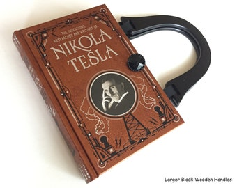 Nikola Tesla Book Purse - Tesla Book Clutch - Inventor Collector Gift - Tesla Book Cover Handbag - Electrical Engineer Gift