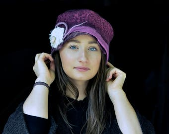 Unique felt hat, merino wool, Felted pillbox, handmade in France, womens stylish hat for any occasion, gift mother, daughter Reserved.
