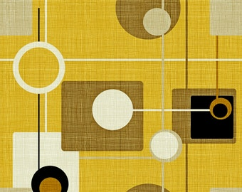 Mod Atomic Fabric - Orbs And Squares Gold By Chicca Besso - Yellow Mid Centruy Modern Cotton Fabric By The Yard With Spoonflower