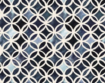 Geometric Blue Indigo Fabric - Painted Deco Circles Midnight By Crystal Walen - Indigo Cotton Fabric By The Yard With Spoonflower