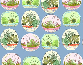 Summer Terrarium Fabric - Mock Applique Terrariums By Eclectic House - Summer Botanical Cotton Fabric By The Yard With Spoonflower