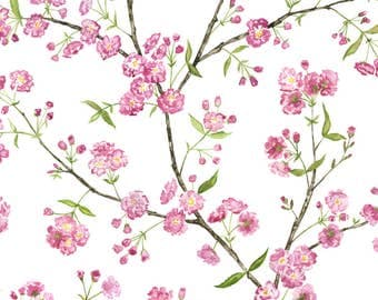Spring Cherry Blossom Fabric - Cherry Blossoms By Jillbyers - Pink Watercolor Florals Cotton Fabric By The Yard With Spoonflower