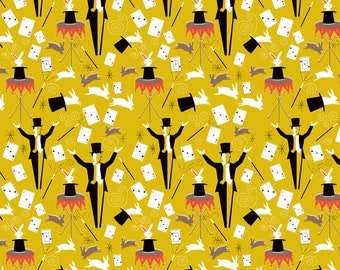 Retro Magic Fabric - Retro Magic By Vinpauld - Yellow Retro Magician Cotton Fabric By The Yard With Spoonflower
