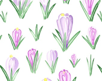 Spring Flower Fabric - Watercolor Easter Floral Crocus Spring By Misschiffdesigns - Purple Green Cotton Fabric By The Yard With Spoonflower