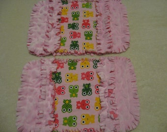 Frogs Toads burp cloth Baby Shower Gift Spit Rag Pink Baby Girl Burp Cloths with Minky backing