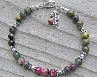 Pink Green Tourmaline Sterling Silver Flower Healing Gemstone Silver Necklace