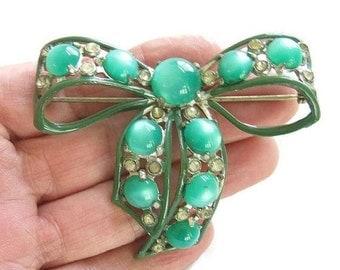 Art Deco Moonglow Bow Brooch Pot Metal Green Enamel and Rhinestones Vintage