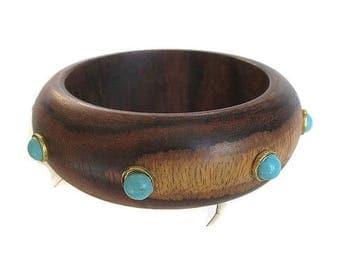 Wood Bangle Bracelet with Faux Turquoise Studs Vintage